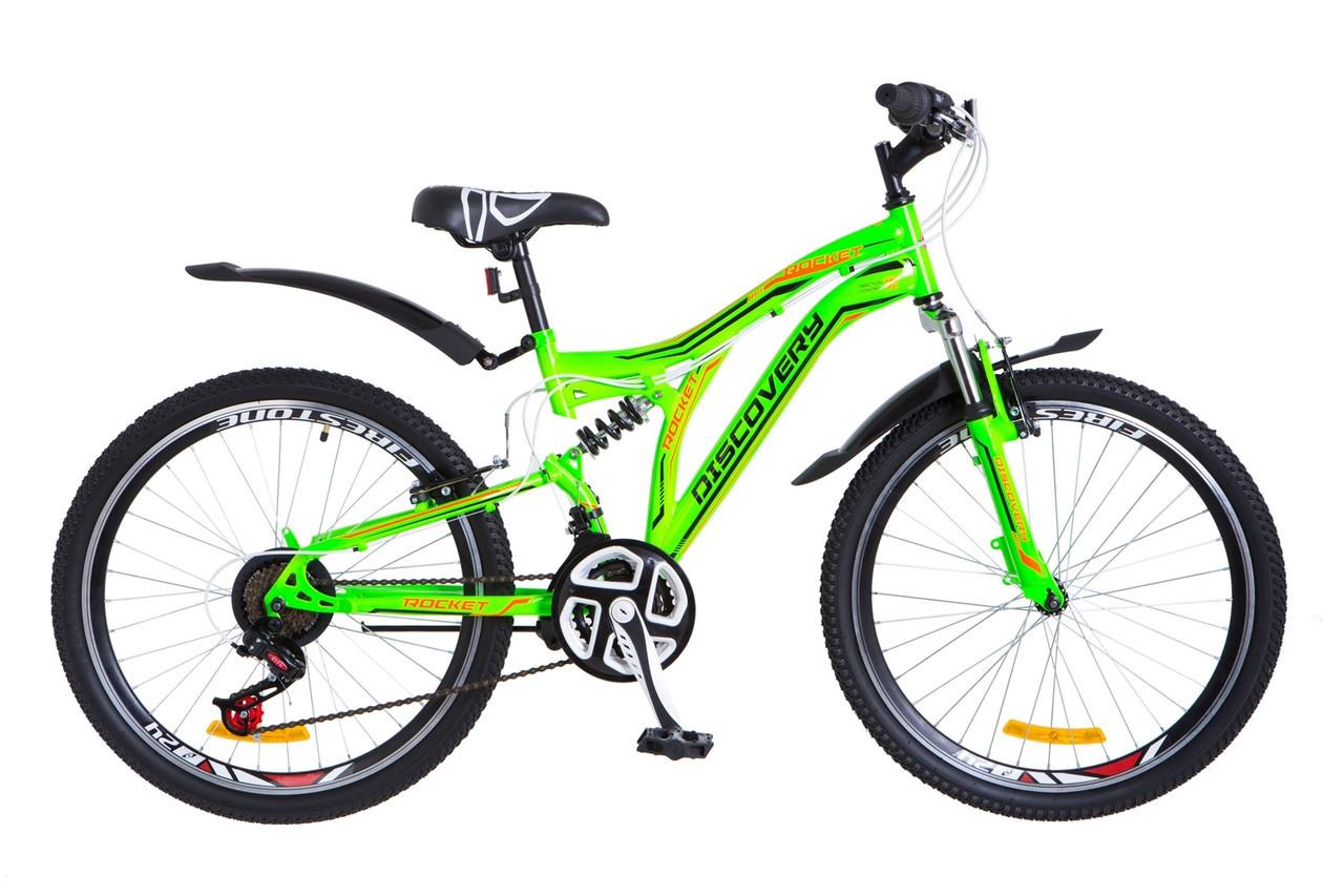 🚲Подростковый стальной горный велосипед Discovery ROCKET 2018; рама 15; колеса 24