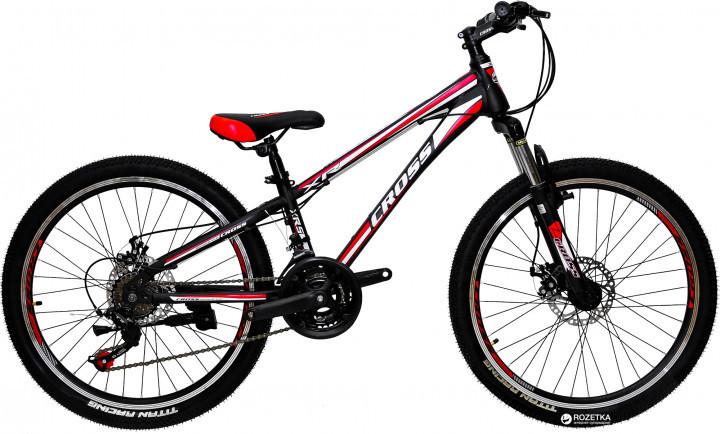 🚲Подростковый стальной горный дисковый велосипед CROSS RACER (21 speed, Shimano, полуавтоматы); рама 11; колеса 24