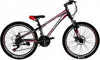 🚲Подростковый стальной горный дисковый велосипед CROSS RACER (21 speed, Shimano, полуавтоматы); рама 11; колеса 24 , фото 1
