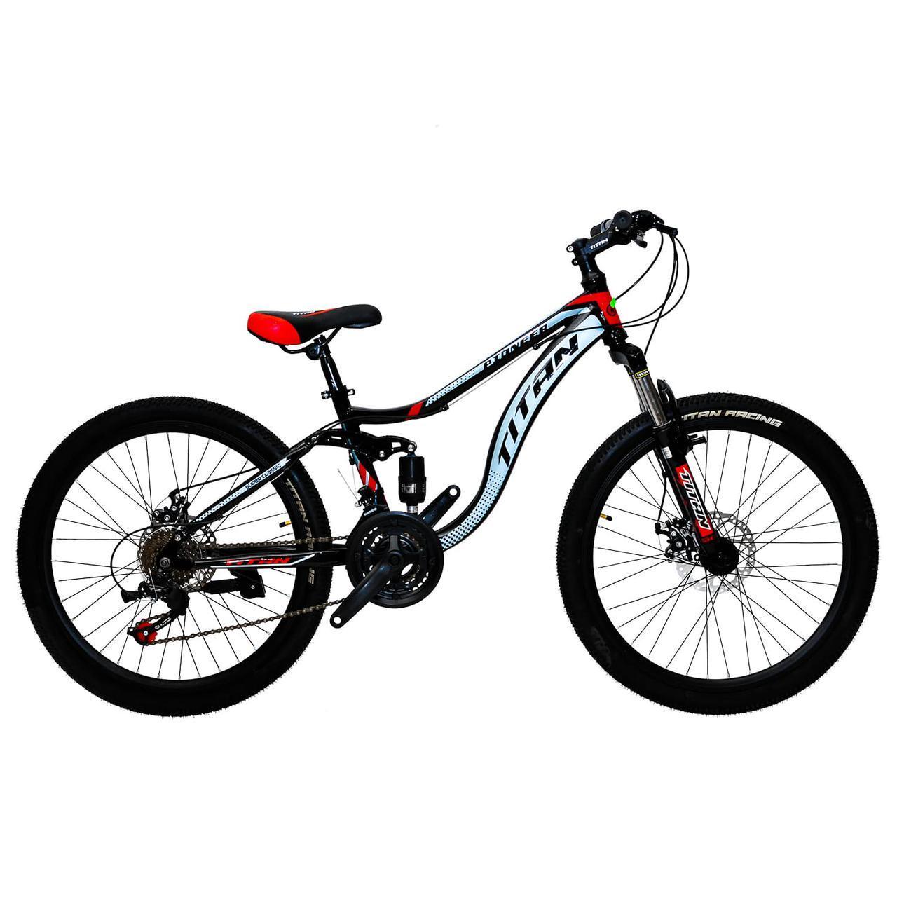 🚲Подростковый стальной горный дисковый велосипед Titan PIONEER DD (Shimano, моноблок); рама 13; колеса 24
