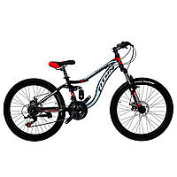 🚲Подростковый стальной горный дисковый велосипед Titan PIONEER DD (Shimano, моноблок); рама 13; колеса 24, фото 1