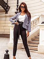 Деловой женский костюм с клетчатым жакетом S M L XL