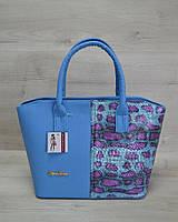 Класична жіноча сумка «Дві змійки» синій, малиновий змія