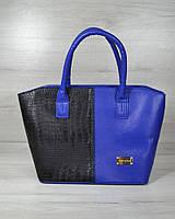 """Класична жіноча сумка «Дві змійки """" електрик з вставкою чорний крокодил"""
