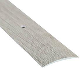 Алюминиевый профиль одноуровневый гладкий декорированный 40мм х 2.7 м дуб беленый