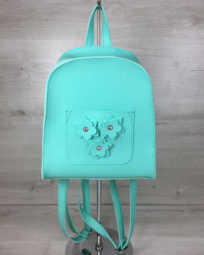 Жіночий рюкзак «Квіти» м'ятного кольору
