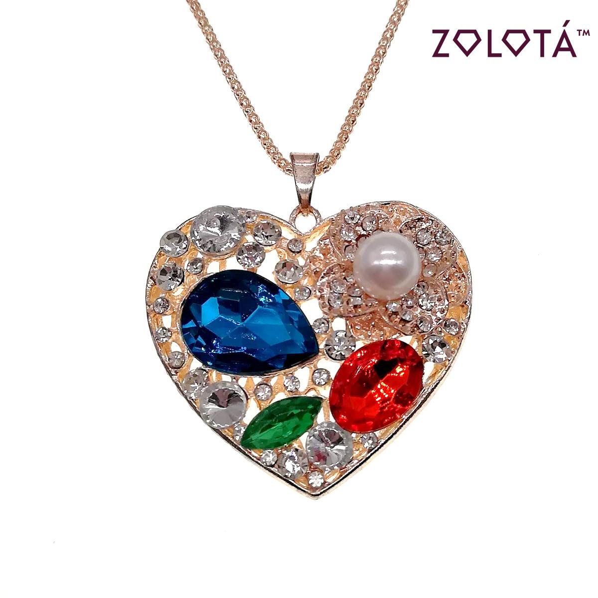 """Подвеска """"Сердце"""" на цепочке с разноцветными фианитами (куб. цирконием), в позолоте, длина 70 см, ПД00018 (1)"""