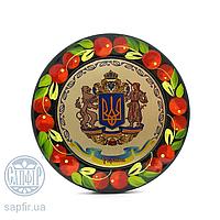 Магнит круглый 8,2 см Герб України вел.