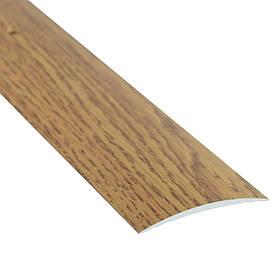 Алюминиевый профиль одноуровневый гладкий декорированный 40мм х 2.7 м дуб светлый