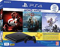 PlayStation 4 Slim 1Tb Rus Black Bundle (CUH-2208B) + 3 Игры Хита + PS Plus 3 мес, фото 1