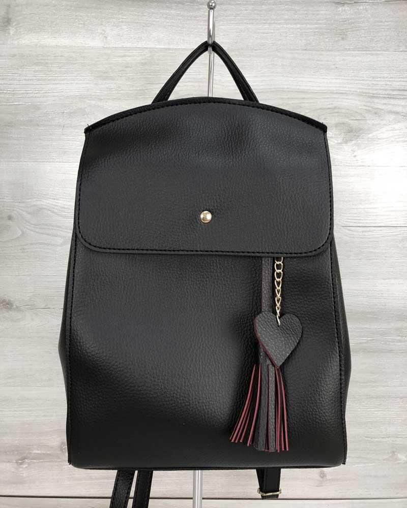 Молодіжний сумка-рюкзак Серце чорного кольору