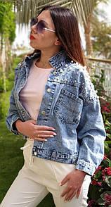 Куртка джинсовая на плечах расшитая жемчугом