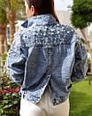 Куртка джинсовая на плечах расшитая жемчугом, фото 2