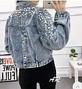 Куртка джинсовая на плечах расшитая жемчугом, фото 5