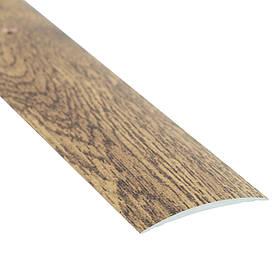 Алюминиевый профиль одноуровневый гладкий декорированный 40мм х 2.7 м орех бурбон