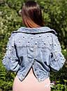 Куртка джинсовая на плечах расшитая жемчугом, фото 8