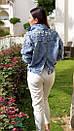 Куртка джинсовая на плечах расшитая жемчугом, фото 9