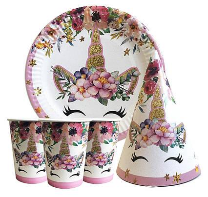 Набор детской одноразовой посуды  Единорог в цветах 10 тарелок 10 стаканов 10 колпачков