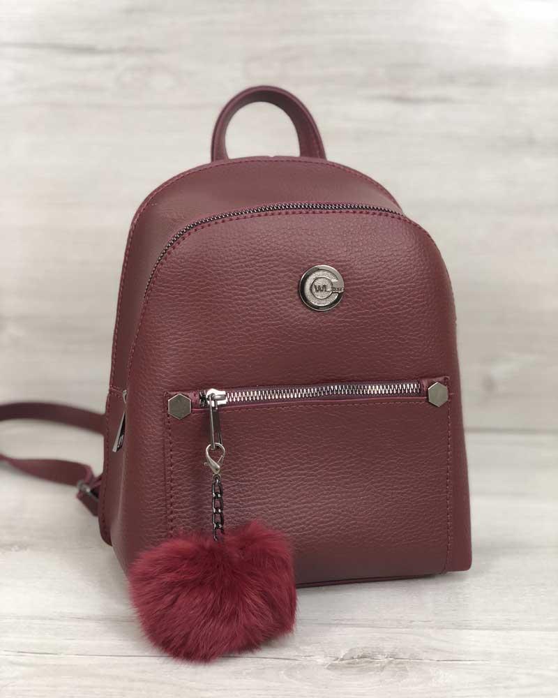 Рюкзак молодіжний Бонні з пушком бордового кольору