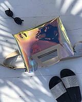 2в1 Молодежная Перламутровая силиконовая сумка welassie Вита с бежевым