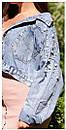 Куртка джинсовая на плечах расшитая жемчугом, фото 10