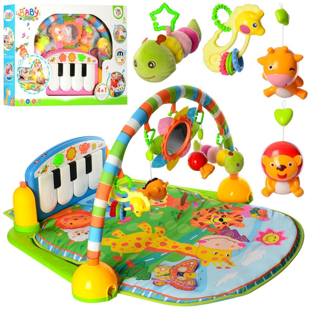 Развивающий коврик для младенца с пианино PA318, 900*600 см, 5 подвесок,музыка