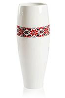Ваза ETERNA 16*16*42 см белая с цветами