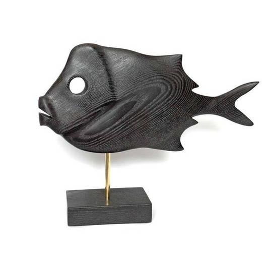 Статуэтка  в виде Рыбы из дерева, на латунной подставке. Ручная работа.