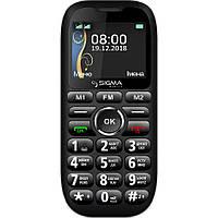 Кнопочный телефон бабушкофон с озвучкой цифр при наборе номера на 2 сим карты Sigma Comfort 50 Grand чёрный