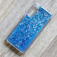 Чехол аквариум с плавающими блестками для Xiaomi Mi 9 (синие блестки)