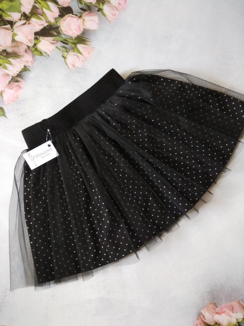 """Черная юбка """"New""""детская в горошек со слоем евро сетки Любой размер."""