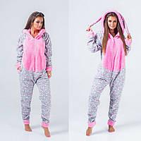 3d0ac473d47b6 Женская теплая пижама кигуруми зайчик с ушками принт звездочка 42 44 46 48  серая розовая