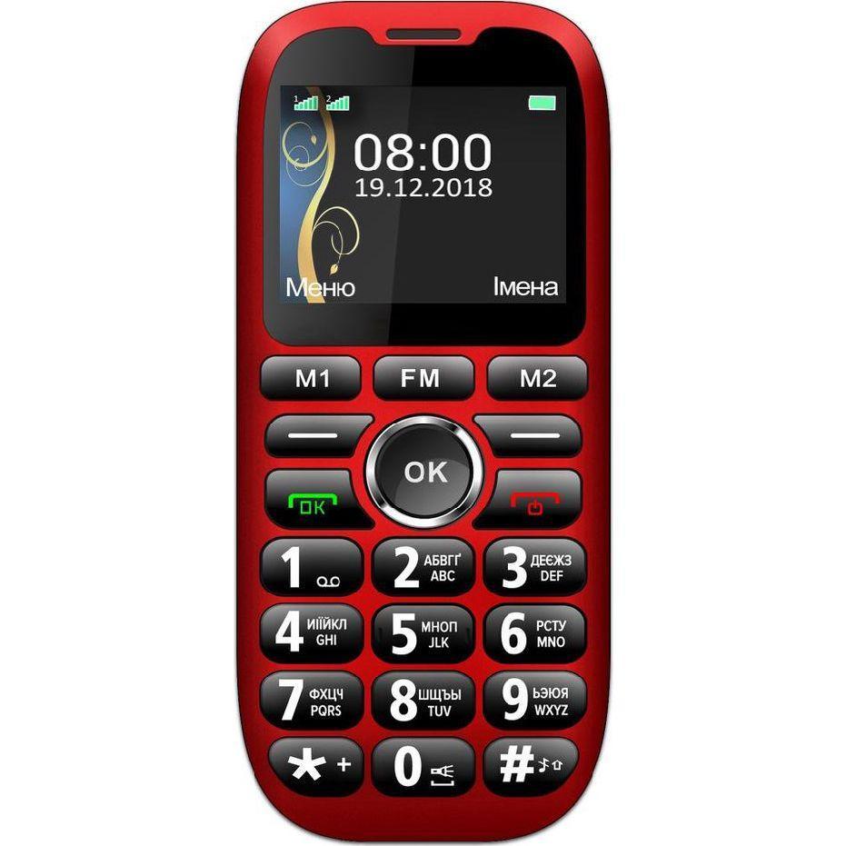 Кнопочный телефон бабушкофон на 2 сим карты с фонариком Sigma Comfort 50 Grand красный