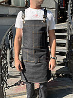 Фартук официанта, бармена джинсовый с кожаными ремнями, униформа, индивидуальный пошив, все размеры