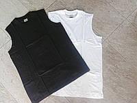Футболки мужские, цветные хлопковая Безрукавка производства Турции Чёрные 46-52