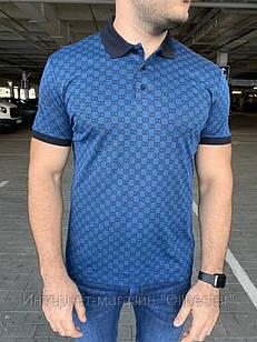 Мужская футболка поло синяя в стиле Gucci