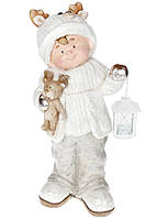 Новогодняя керамическая фигура  Мальчик с фонариком и с мишкой 51 см, цвет: белый