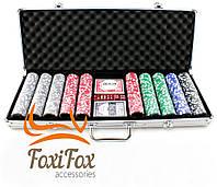 Покерный набор на 500 фишек с номиналом в кейсе