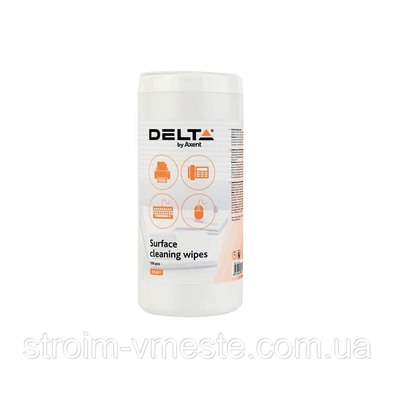 D5301Салфетки для оргтехники влажные, 100 шт. DELTA/AXENT