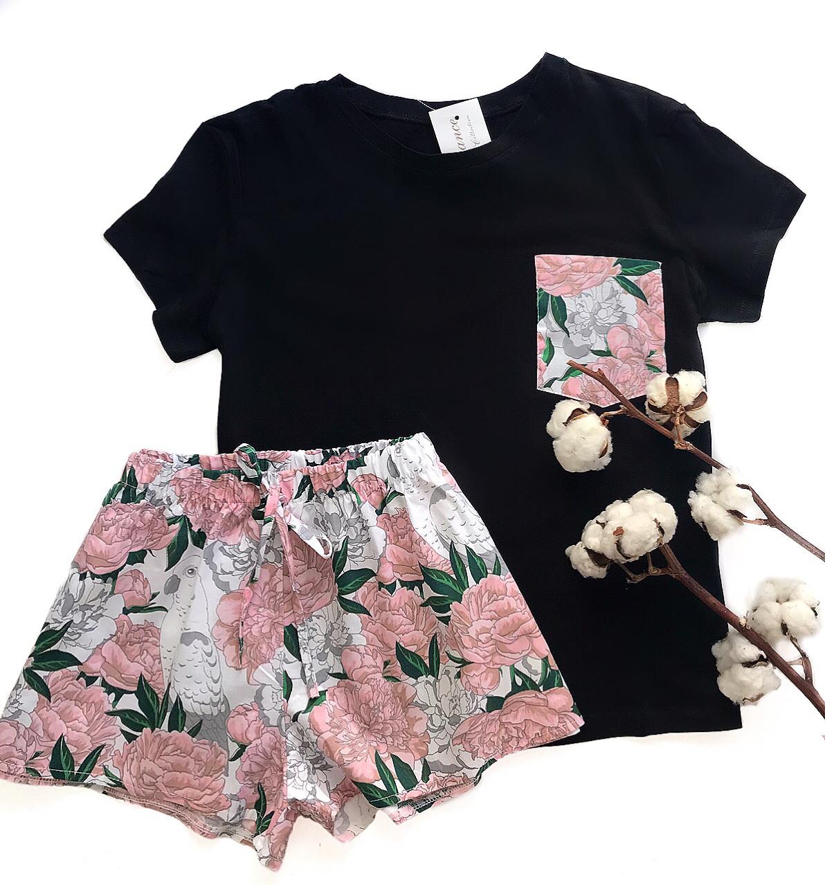 Пижама футболка и шорты S-M пионы