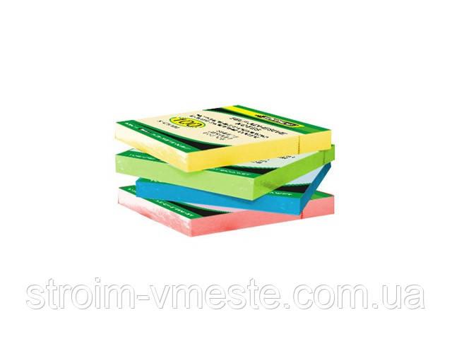 Бумага клейкая 76х76мм 80л неон желтая 4-424 4Office