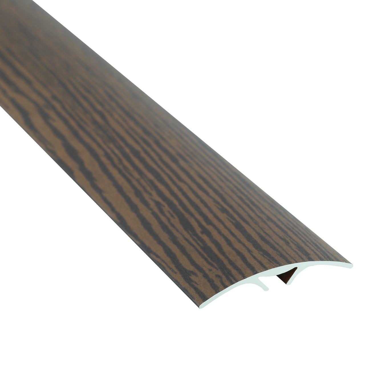 Алюминиевый профиль одноуровневый гладкий (скрытая система крепления) 40мм х 2.7 м венге светлый