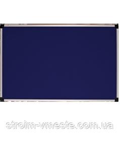 Доска для объявлений текстильная. Алюминиевая рама S-line. Серая. (100х150 см) 151015