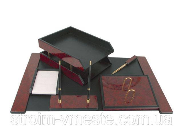 Набор настольный письменных принадлежностей из декоративного коричневого дерева 6FN-2A 6 предметов
