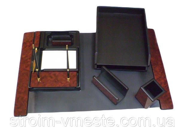 Набор настольный письменных принадлежностей темно-коричневое дерево 8FN-1A 8 предметов