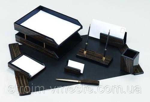 Набор настольный письменных принадлежностей из черного дерева 8FE-1A 8 предметов