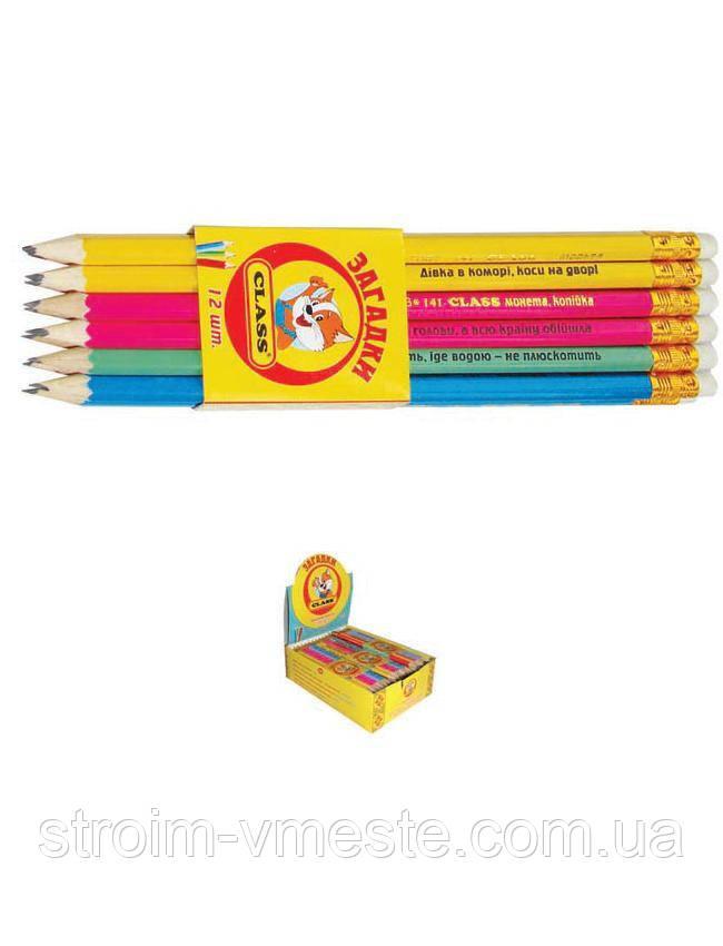 Карандаш чернографитный CLASS 141 Украинские загадки НВ с ластиком