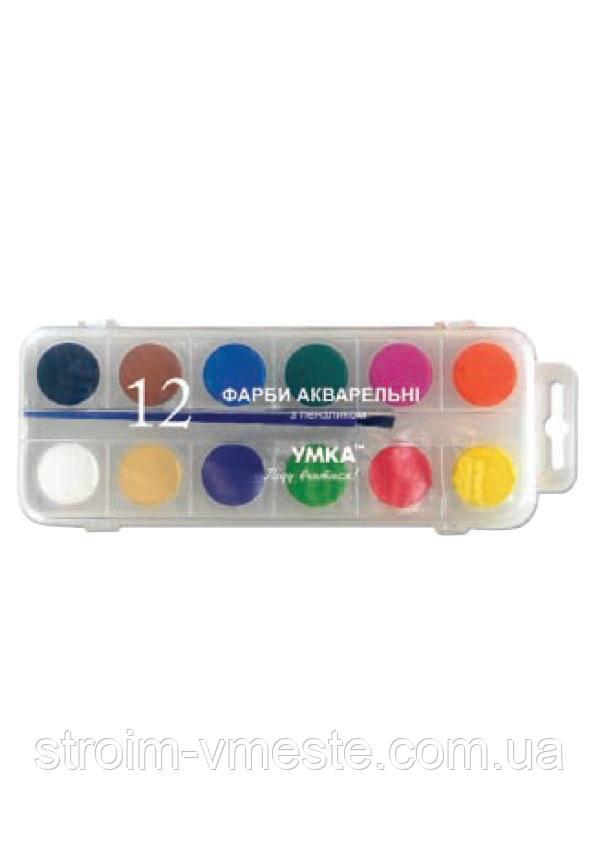 Краски акварельные 12 цветов с кисточкой КР81 ,УМКА