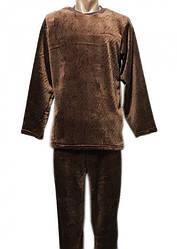 Махровая пижама мужская теплая домашняя зимняя кофта со штанами (велсофт)