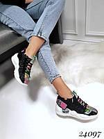 Кроссовки-носочки на шнурках черные, фото 1